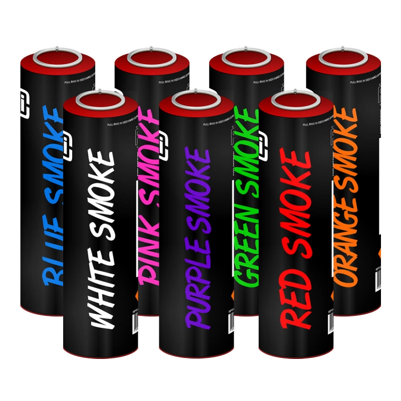 Ring Pull Coloured Smoke Grenades (60s), Pack of 7